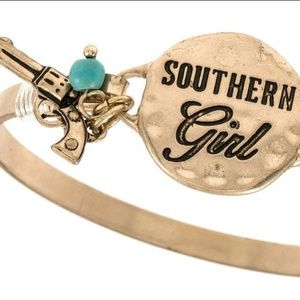 """Jewelry - """"Southern Girl"""" etched disk bracelet - Gold"""